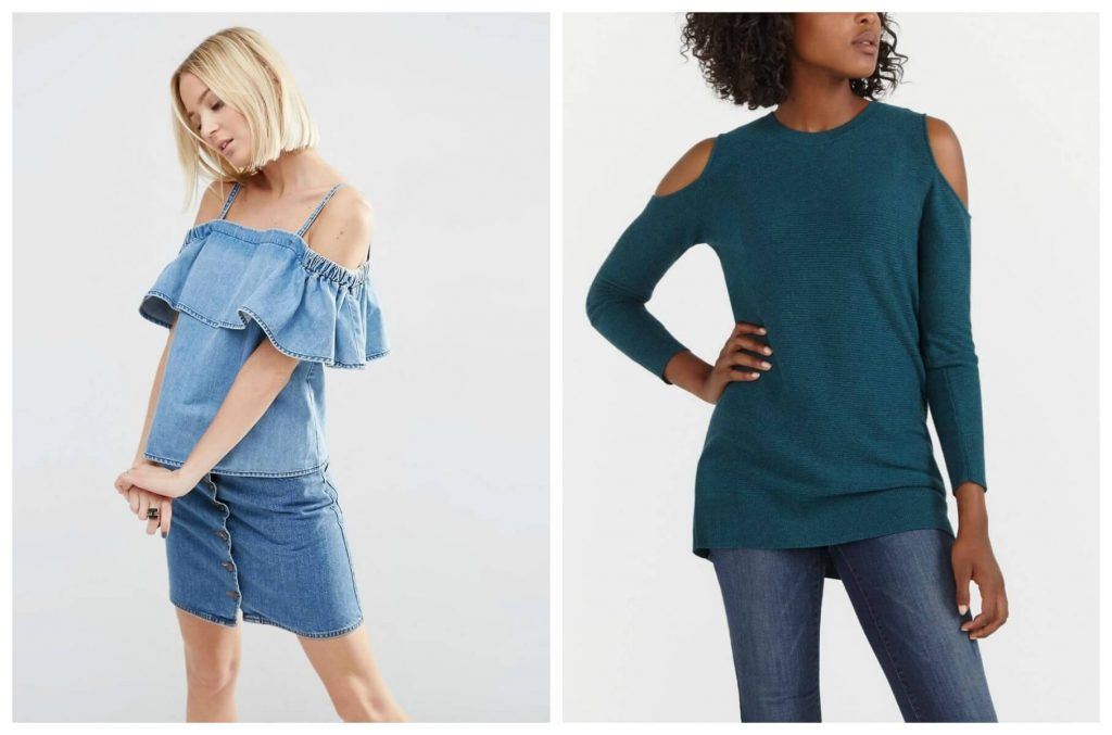 ASOS Denim Off Shoulder Ruffle Top; Cold Shoulder Sweater Tunic from Reitmans